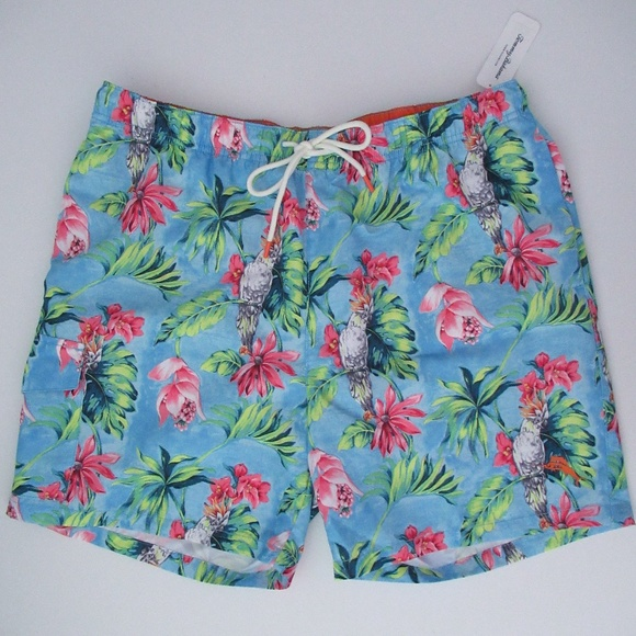 Tropical Floral with Macaw Parrots Hibiscus and Palm Leaves Mens Swim Trunks Board Beachwear Casual Beach Shorts for Men